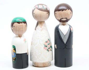 Wedding Cake Toppers with Pet or Child Custom Wedding Cake Toppers Personalized Custom Wedding Gift Goose Grease wooden dolls
