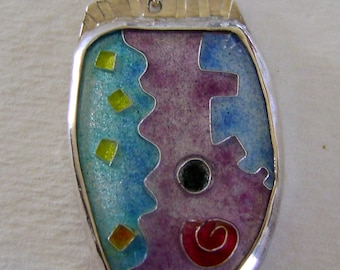 Cloisonne enamel jewelry pendant necklace.