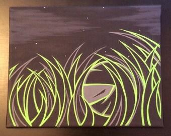 "Original Ninja painting by Kokeshi Clan. Acrylic on canvas 8""x10"" Grassroots series 1 of 4"