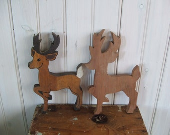 Two Vintage Wooden Whitetail Deer or Reindeer Silhouettes Cutouts