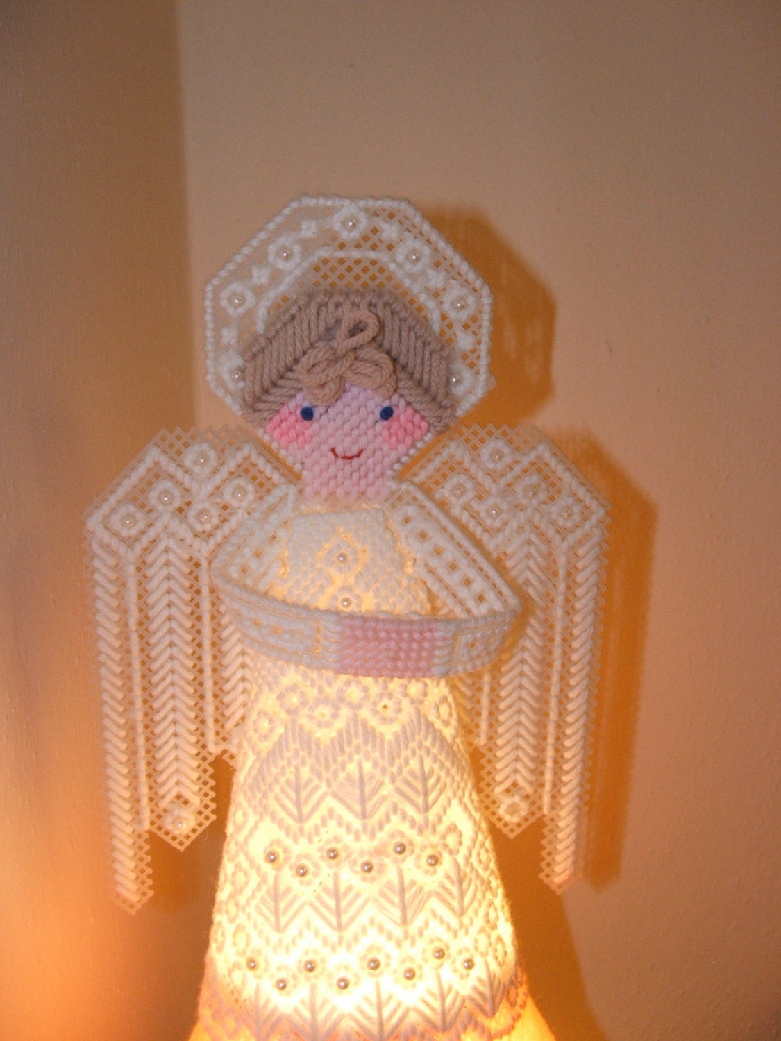 Vintage Plastic Canvas Needlepoint Angel Tree Topper