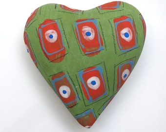 Green and red Pillow Heart  Ceramic Wall Sculpture
