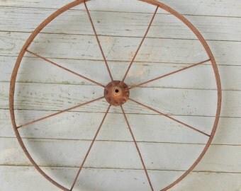 Vintage Wagon Wheel Cast Iron Primitive Farm Tool Garden Decor French Prairie Farmhouse Wrought Iron Rustic Cabin Decor French Country