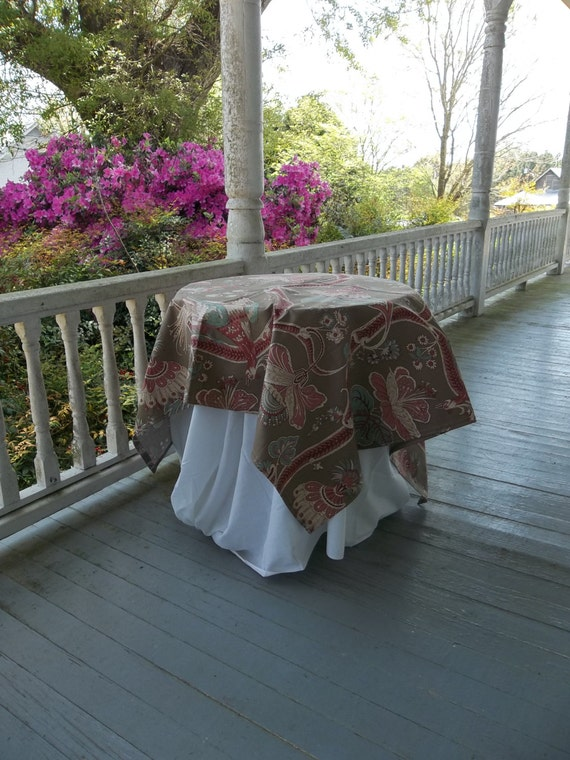Vintage Tablecloth Floral Topper Table Drape 48