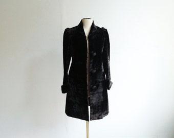 Antique Victorian Mohair Velvet Coat.
