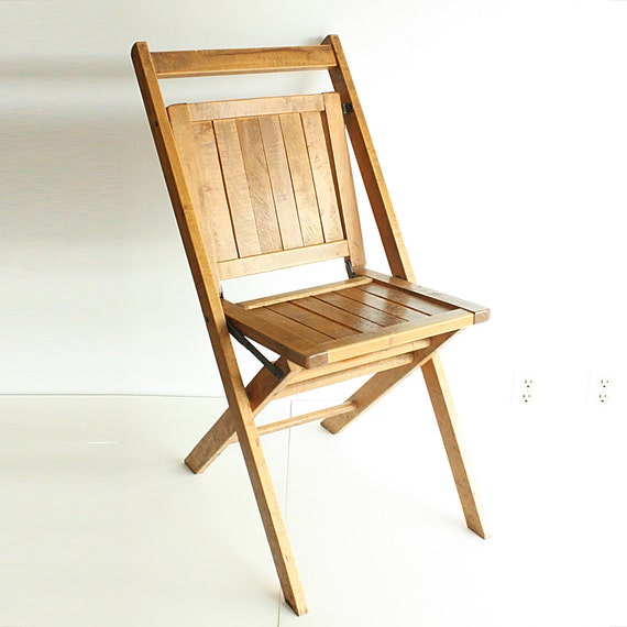 Vintage wood folding chair Simmons pany wood slats