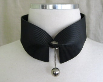 Black Rubber Unisex Collar and Stainless Steel Ball  80s Punk Club