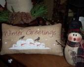 Winter Greetings Snowman Pillow