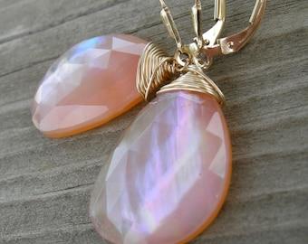 Pinkish Orange Carnelian Topaz Mother of Pearl Triplet Gold Fill Earrings