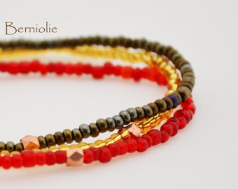 Beaded bracelet, brown, gold and red glass seedbeads, stretchy, 7 inch, S23