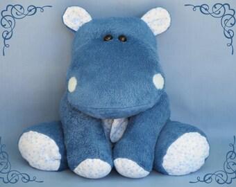 Handmade plush hippo