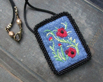 Flower Pendant, Red Poppies, Embroidered Fiber Art Necklace, Recycled Cotton Denim, Black Cord Necklace