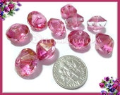 6 Faceted Orchid Pink Czech Glass Beads, Saucer Beads w PIcasso Finish 13mm x 9mm CZN66