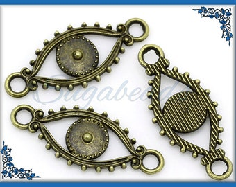 12 Evil Eye Antiqued Brass Connector Beads 30mm
