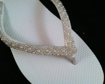So Sweet Bride Boutique Beaded Bridal Flip Flops