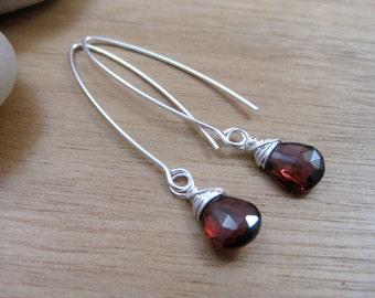 Garnet Earrings Sterling Silver Dangle Earrings January Birthstone Jewelry Gemstone Earrings Deep Red Garnet Jewelry - Essence