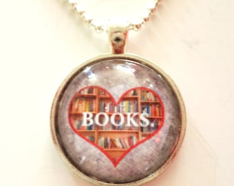 Heart BOOKS Reading Pendant Necklace