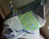 Cottage Chic Cotton Patchwork Three Pocket Waitress, Gardener's or Venders Apron in Blues and Greens