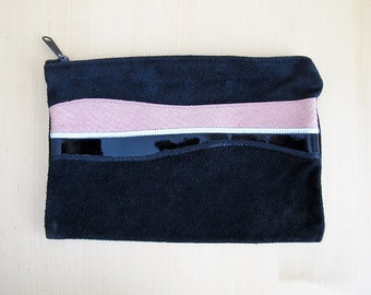 70s Black Suede Patchwork Zippered Pouch, Clutch, or Makeup Bag