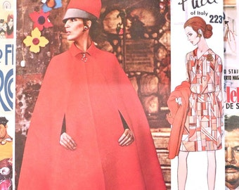 Vintage 1960s Womens Pucci Dress and Cape Pattern with Cloth Label - Vogue 2231