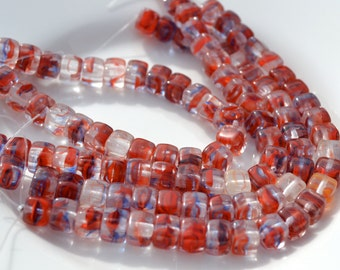 Red Clear and Blue 6mm Glass Cube Beads  25