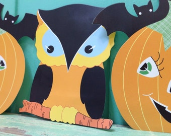 Halloween owl and pumpkin cards