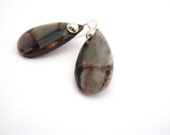 Agate Dangle Earrings, Sterling Silver, Black, Brown, Gray, Teardrop Earrings