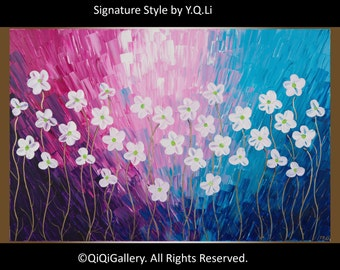 Magenta blue purple white flowers art wall art wall decor impasto canvas art original art wall hangings  by QIQI GALLERY