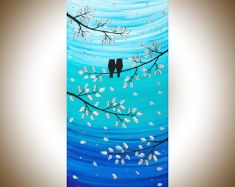 """24"""" Owl painting teal blue Acrylic gift for her gift for couple Animal Wall art wall decor canvas art """"Silver Moonlight"""" by qiqigallery"""