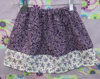 Cute Girls Skirts - Toddler Skirts - Purple and White Swirl/Floral - 18M