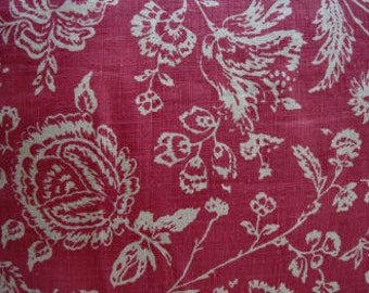 """FRENCH ReD 20"""" Down Pillow/Linen Toile/ CoTTaGe Shabby/Shabby Chic/Loft/Throw Pillow/Bedroom/Urban Chic"""