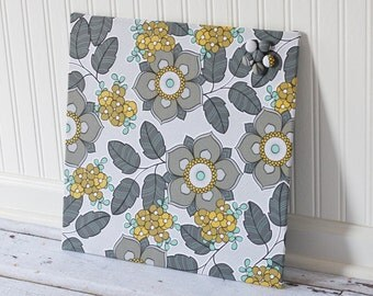 Magnetic Board 16inx16in No Frame - Gray Mustard and Turquoise Floral Fabric
