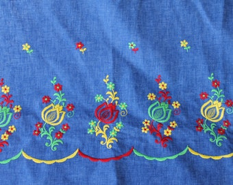 """60's Dark Blue Shambray Cotton with Green Yellow & Red Embroidered Tulip Floral Trim Scandinavian Folk Art 45"""" selvage 4.16 yards"""
