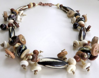 Earthy Spirit: Glass Beads, Bone and Buttons in Neutral Colors