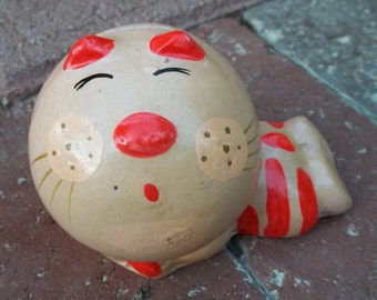 Vintage 1970's 1972 Russ Berrie Small Kitty Cat Pottery Still Bank
