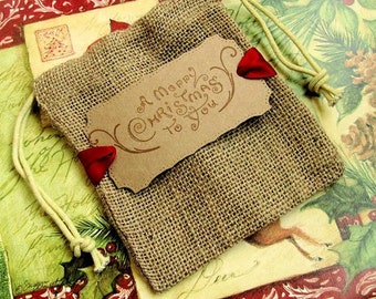 10 Christmas Gift Bags - Christmas Favor Bags - Hand stamped - Burlap - Merry Christmas