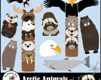 All new Arctic Animals set 2 INSTANT DOWNLOAD 9 arctic animals digital clipart graphics muskox totem pole seaotter salmon lemming bald eagle