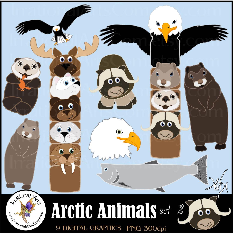 all new arctic animals set 2 instant download 9 arctic animals