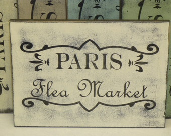 PARIS FLEA MARKET / flea market sign / Paris market sign / Paris flea sign / hand painted sign / Paris sign / French flea market / Paris