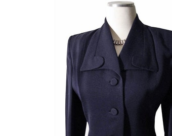 Vintage 1940s 1950s Hourglass Jacket - Navy Blue 40s 50s Jacket Size S