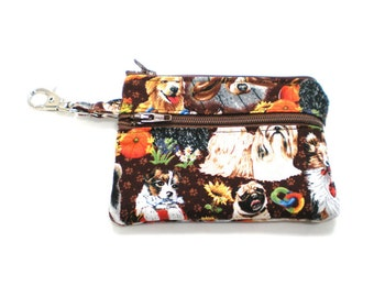 Small Zippered Wallet Change Purse Gadget Case  Puppy Fun
