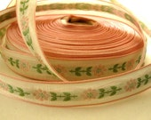 Vintage Gorgeous Embroidered, Pink Edging, Floral Ribbon, THREE YARDS