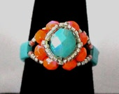 Czech Fire Polished Ring in Turquoise and Orange