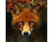 fox art, fox painting, fox print, red fox, woodland creature, animal,forest, wise fox, fox portrait,  fox brambles
