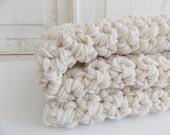 Cotton chunky crochet all natural baby blanket {Natural} - stroller blanket- baby shower gift
