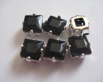 Lot of 6 6mm Jet Square Shaped Swarovski Rhinestones in Copper Sew on Settings