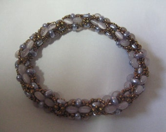 Simo Bracelet in Lilac Twins and Lavender Rondelles Pattern by Beads by Vezsuzsi Bead Work by ME: