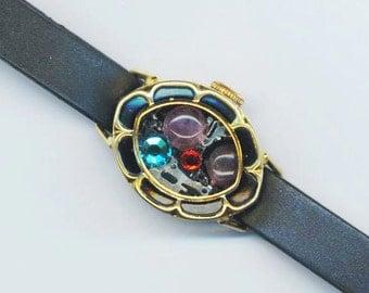 Steampunk Watch Case Bracelet. Amethyst Stone. Adjustable Black Plastic Strap. Swarovski Rhinestones- Sparkly Timer by enchantedbeas on Etsy