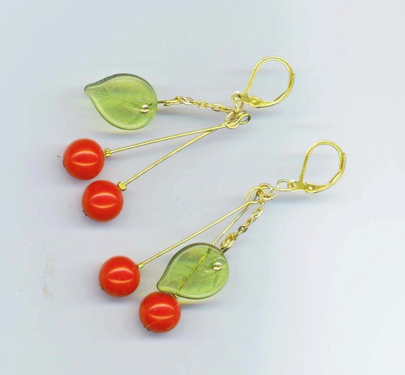 Red Cherry Fruit Earrings. Peridot Green Leaves. Red Valentine . Christmas Holidays. Red Cherries - Cherry Earrings by enchantedbeas on Etsy
