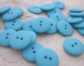 Plain Turquoise Buttons 20mm 24 pieces